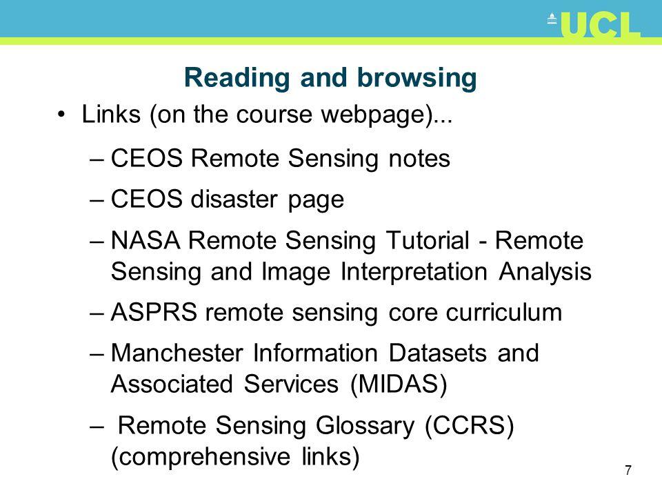 8 Web Tutorials http://rst.gsfc.nasa.gov/ http://earth.esa.int/applications/data_util/SARDOCS/spaceborne/Radar_Courses/ http://www.crisp.nus.edu.sg/~research/tutorial/image.htm http://www.ccrs.nrcan.gc.ca/resource/tutor/fundam/index_e.php http://octopus.gma.org/surfing/satellites/index.html Glossary of alphabet soup acronyms.