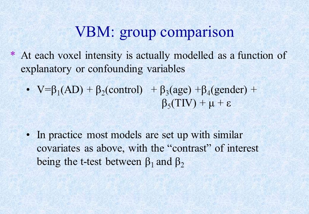 VBM: group comparison *At each voxel intensity is actually modelled as a function of explanatory or confounding variables V=β 1 (AD) + β 2 (control) I