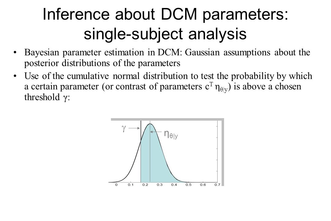 Inference about DCM parameters: single-subject analysis Bayesian parameter estimation in DCM: Gaussian assumptions about the posterior distributions o