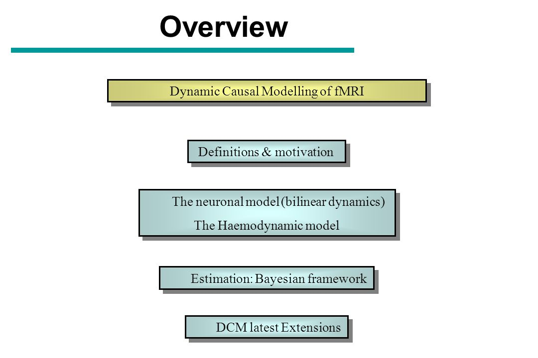 Overview Dynamic Causal Modelling of fMRI Definitions & motivation The neuronal model (bilinear dynamics) The Haemodynamic model The neuronal model (b