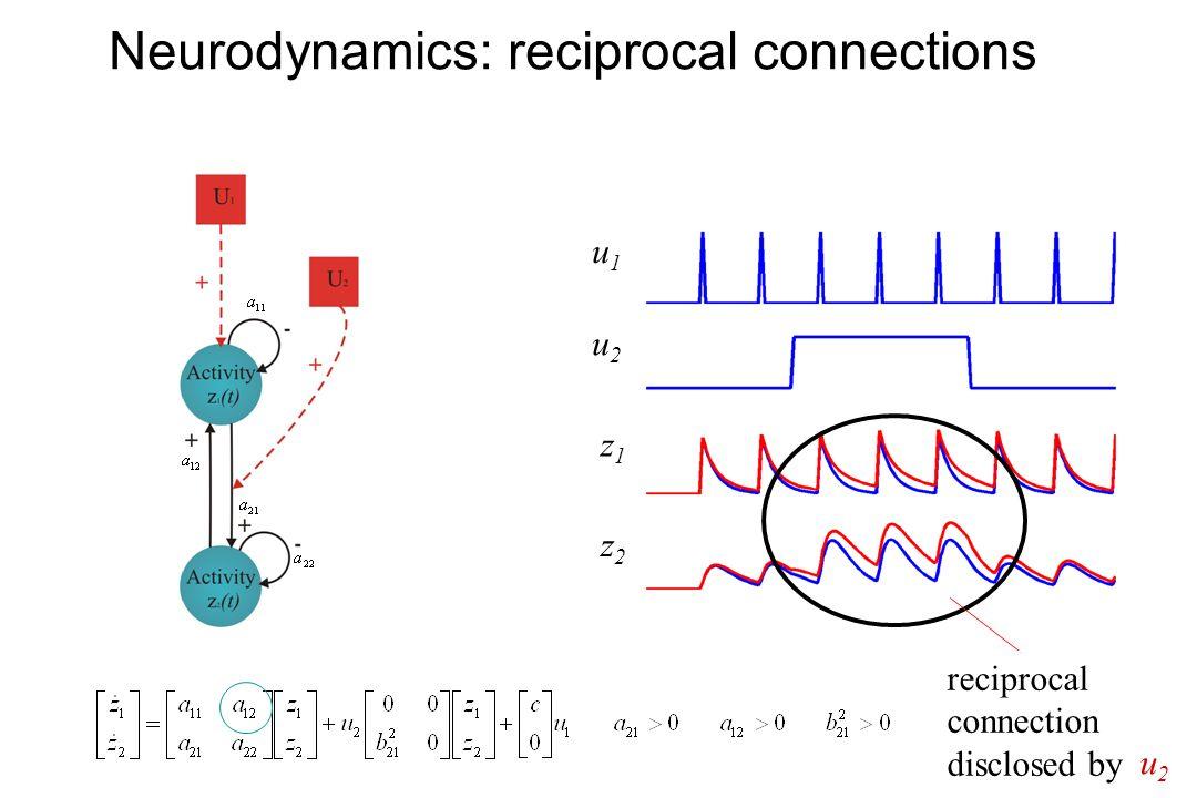 Neurodynamics: reciprocal connections u2u2 u1u1 z1z1 z2z2 reciprocal connection disclosed by u2u2