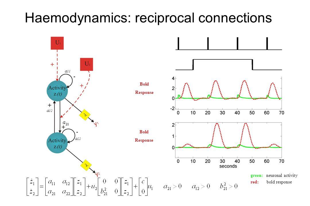 Simulated response Haemodynamics: reciprocal connections Bold Response Bold Response a 11 a 22 a 12 green: neuronal activity red: bold response