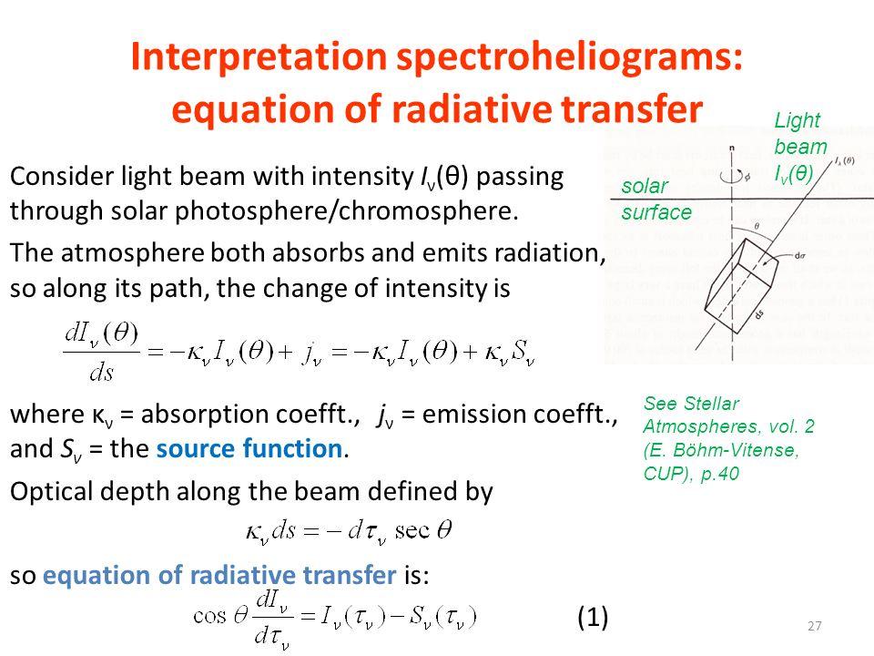Interpretation spectroheliograms: equation of radiative transfer Consider light beam with intensity I ν (θ) passing through solar photosphere/chromosp