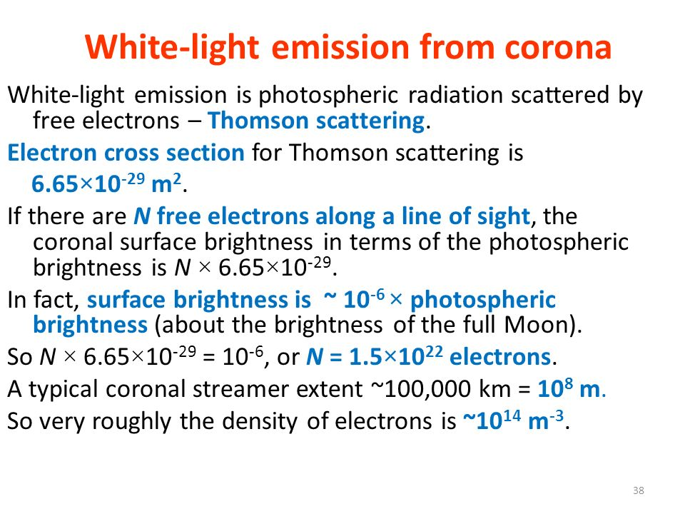 White-light emission from corona White-light emission is photospheric radiation scattered by free electrons – Thomson scattering. Electron cross secti