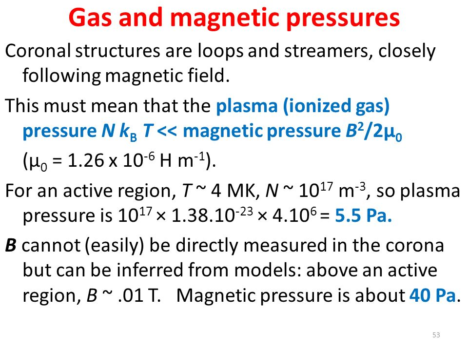 Gas and magnetic pressures Coronal structures are loops and streamers, closely following magnetic field. This must mean that the plasma (ionized gas)