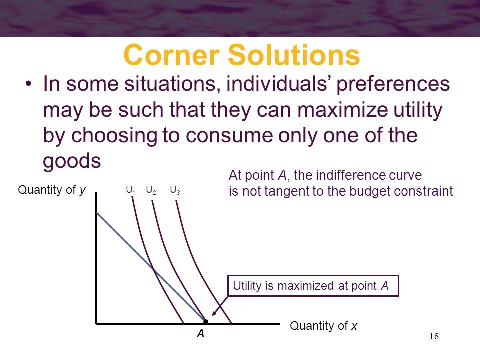 18 Corner Solutions In some situations, individuals preferences may be such that they can maximize utility by choosing to consume only one of the good