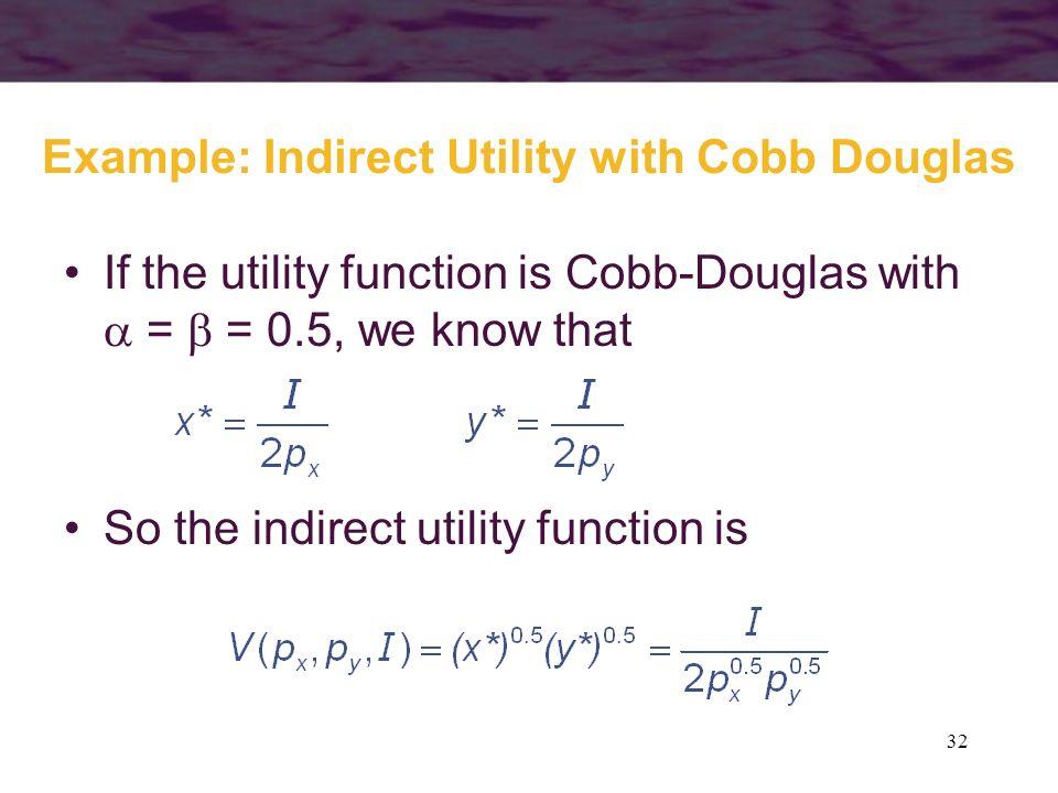 32 Example: Indirect Utility with Cobb Douglas If the utility function is Cobb-Douglas with = = 0.5, we know that So the indirect utility function is