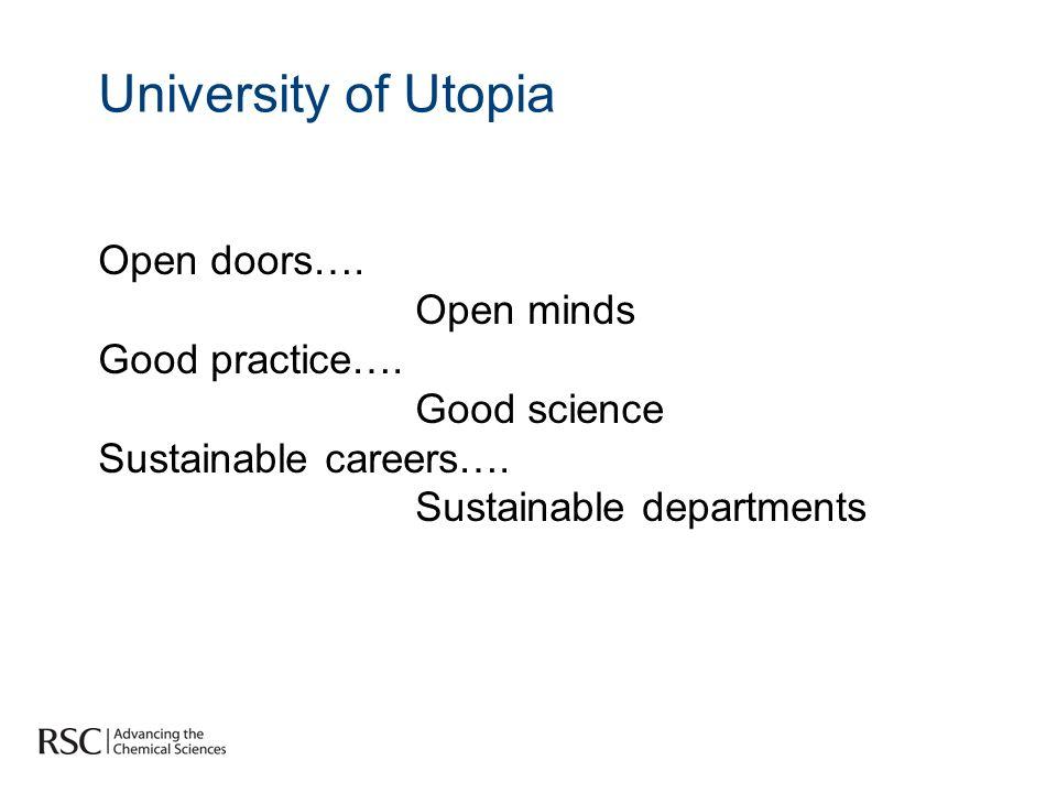 University of Utopia Open doors…. Open minds Good practice….
