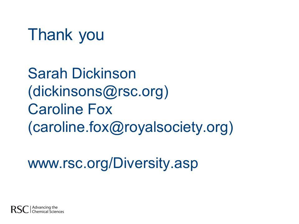 Thank you Sarah Dickinson (dickinsons@rsc.org) Caroline Fox (caroline.fox@royalsociety.org) www.rsc.org/Diversity.asp