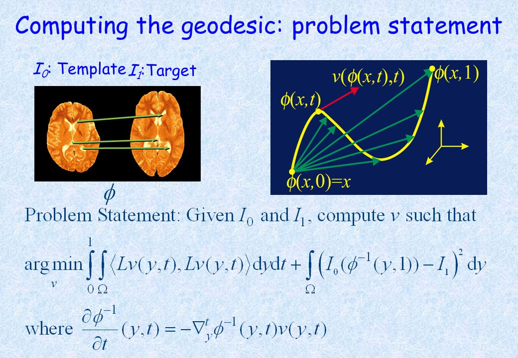 Computing the geodesic: problem statement I 0 : Template I 1 :Target