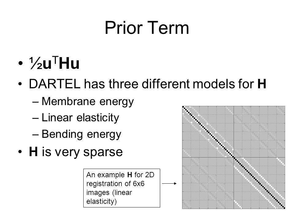 Prior Term ½u T Hu DARTEL has three different models for H –Membrane energy –Linear elasticity –Bending energy H is very sparse An example H for 2D re