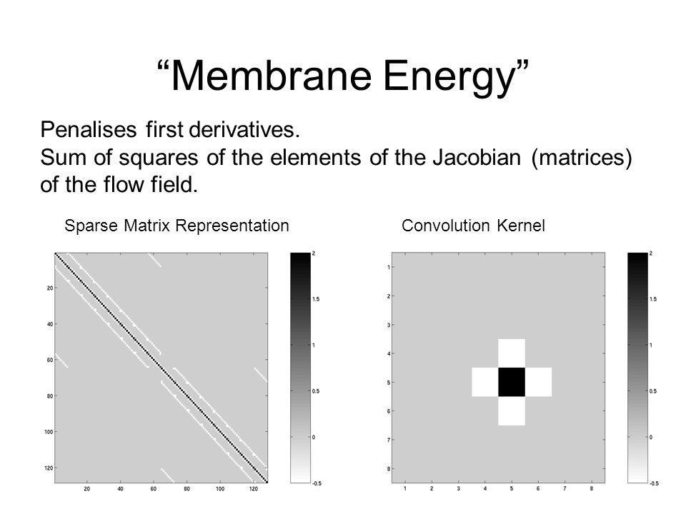 Membrane Energy Convolution KernelSparse Matrix Representation Penalises first derivatives. Sum of squares of the elements of the Jacobian (matrices)