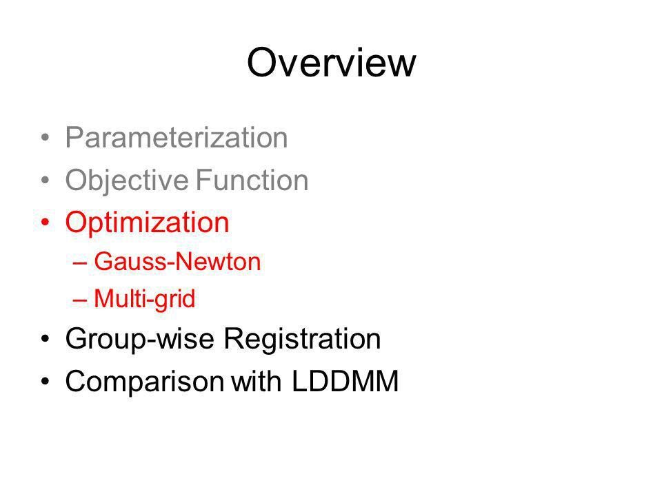 Overview Parameterization Objective Function Optimization –Gauss-Newton –Multi-grid Group-wise Registration Comparison with LDDMM
