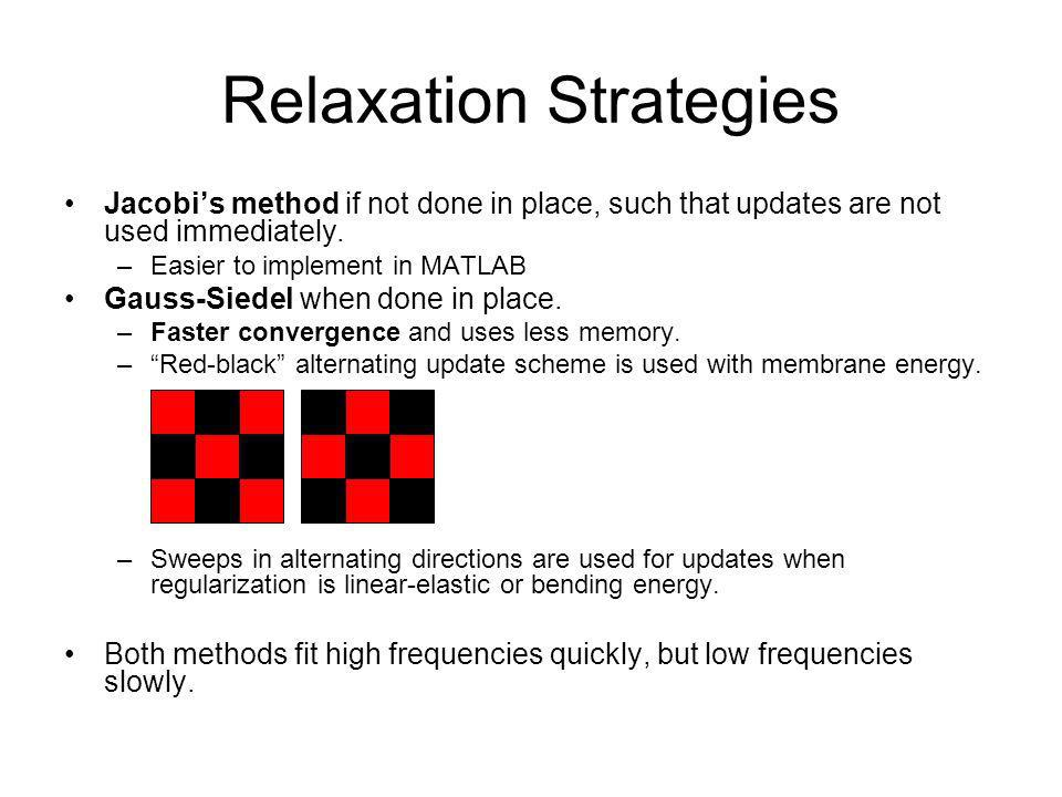 Relaxation Strategies Jacobis method if not done in place, such that updates are not used immediately. –Easier to implement in MATLAB Gauss-Siedel whe