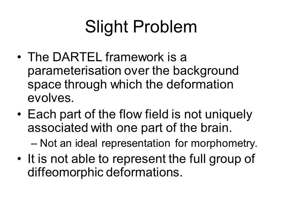 Slight Problem The DARTEL framework is a parameterisation over the background space through which the deformation evolves. Each part of the flow field
