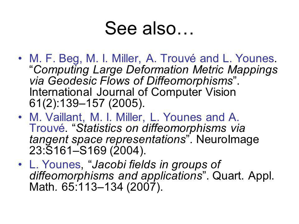 See also… M. F. Beg, M. I. Miller, A. Trouvé and L. Younes.Computing Large Deformation Metric Mappings via Geodesic Flows of Diffeomorphisms. Internat