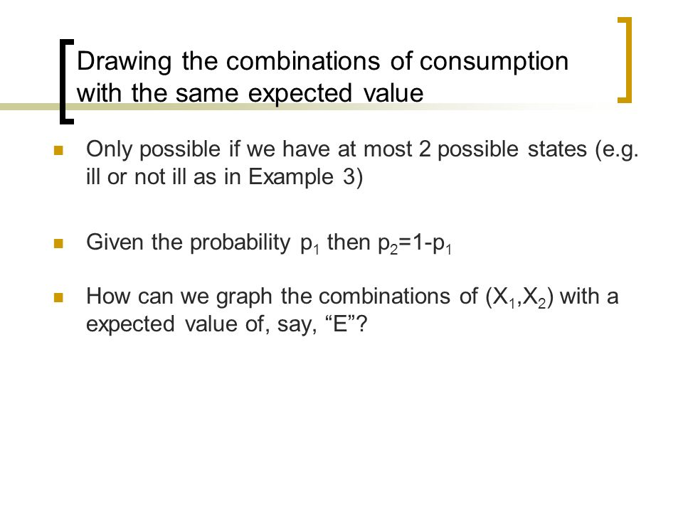 Drawing the combinations of consumption with the same expected value Only possible if we have at most 2 possible states (e.g. ill or not ill as in Exa
