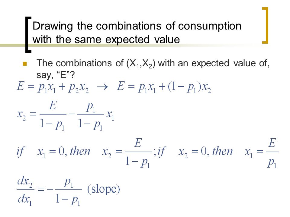 Drawing the combinations of consumption with the same expected value The combinations of (X 1,X 2 ) with an expected value of, say, E?