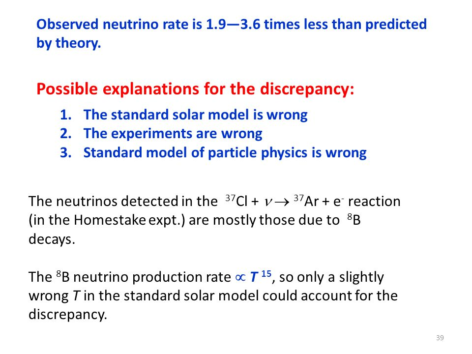 Possible explanations for the discrepancy: 1.The standard solar model is wrong 2.The experiments are wrong 3.Standard model of particle physics is wro