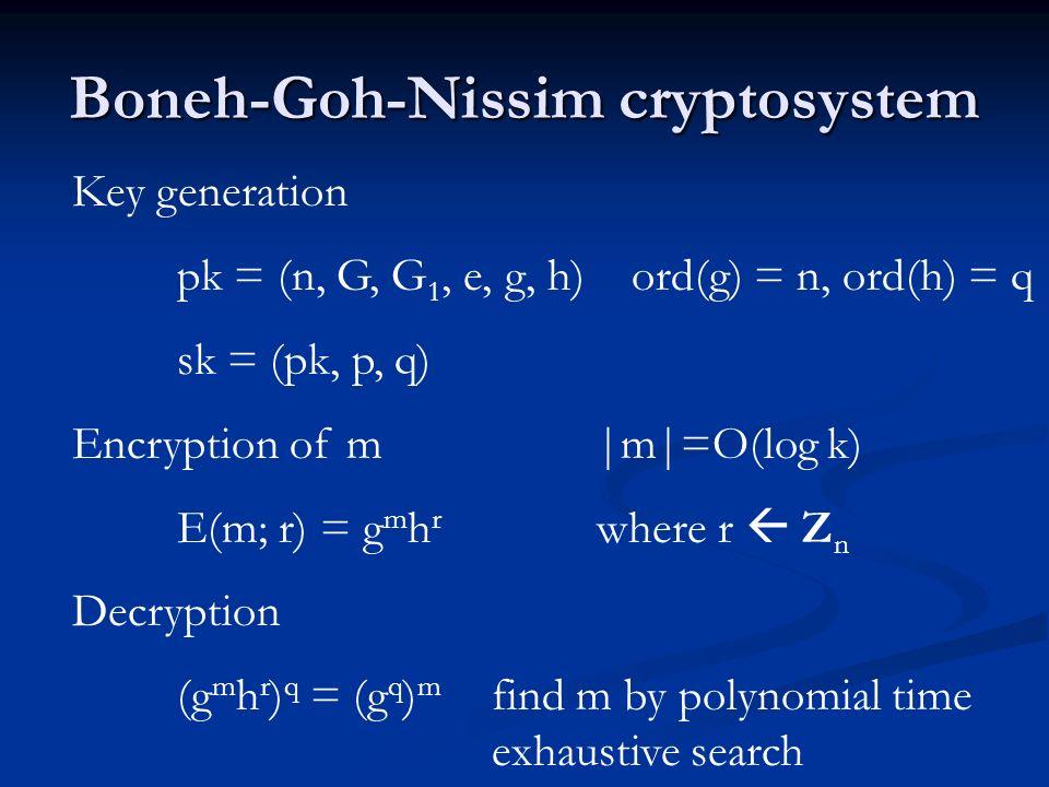 Boneh-Goh-Nissim cryptosystem Key generation pk = (n, G, G 1, e, g, h) ord(g) = n, ord(h) = q sk = (pk, p, q) Encryption of m m =O(log k) E(m; r) = g