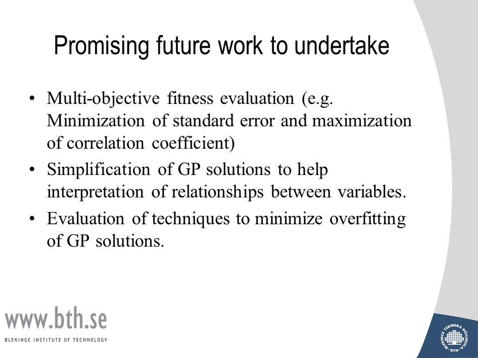 Promising future work to undertake Multi-objective fitness evaluation (e.g. Minimization of standard error and maximization of correlation coefficient