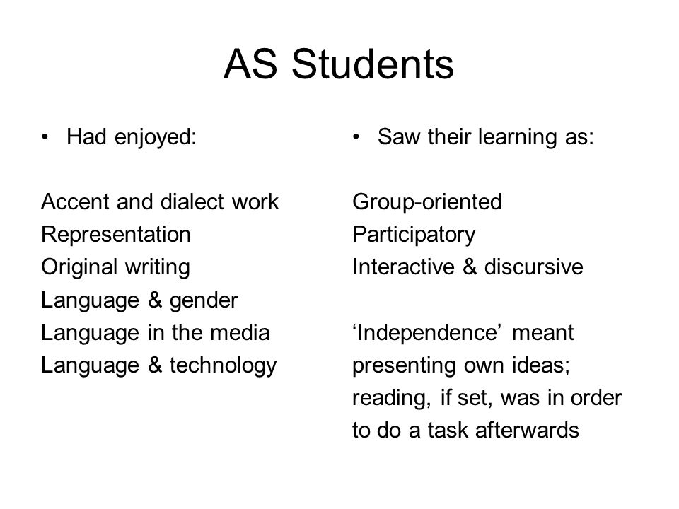 AS Students Had enjoyed: Accent and dialect work Representation Original writing Language & gender Language in the media Language & technology Saw their learning as: Group-oriented Participatory Interactive & discursive Independence meant presenting own ideas; reading, if set, was in order to do a task afterwards
