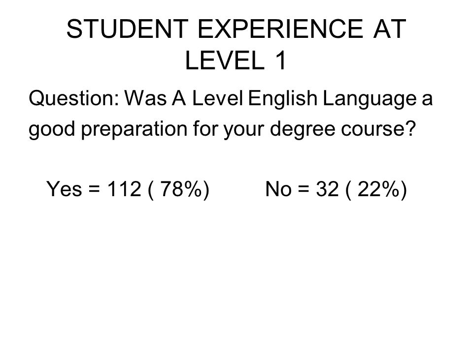 STUDENT EXPERIENCE AT LEVEL 1 Question: Was A Level English Language a good preparation for your degree course.