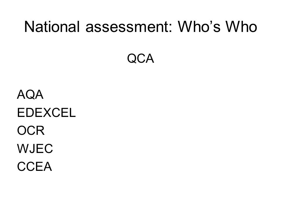 National assessment: Whos Who QCA AQA EDEXCEL OCR WJEC CCEA