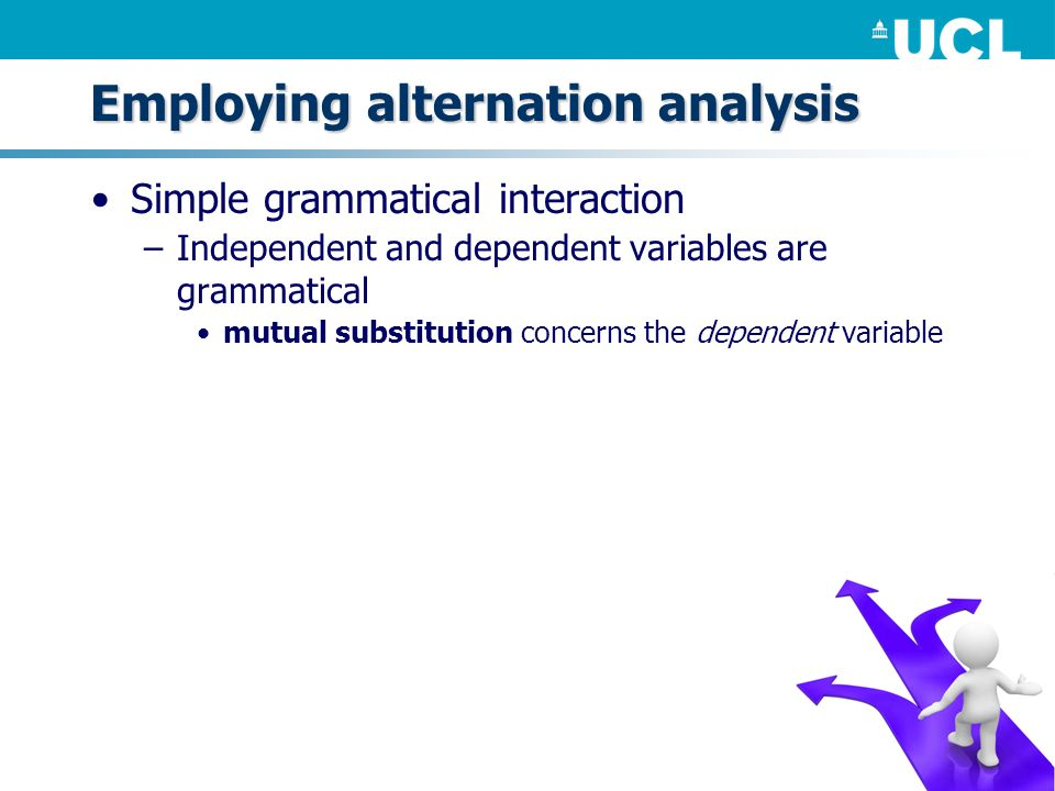 Simple grammatical interaction –Independent and dependent variables are grammatical mutual substitution concerns the dependent variable Employing alte