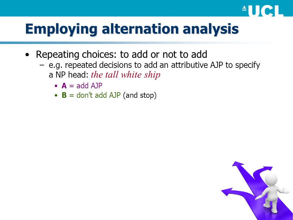 Employing alternation analysis Repeating choices: to add or not to add –e.g. repeated decisions to add an attributive AJP to specify a NP head: the ta