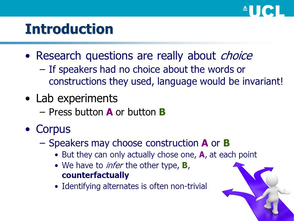 Introduction Research questions are really about choice –If speakers had no choice about the words or constructions they used, language would be invar