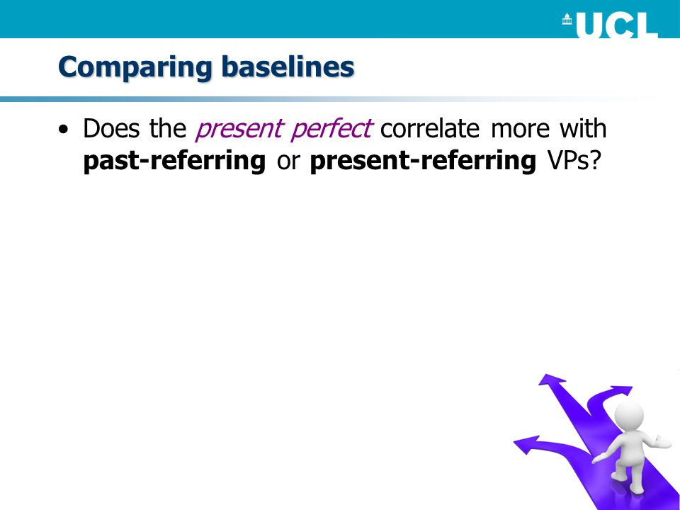 Comparing baselines Does the present perfect correlate more with past-referring or present-referring VPs?