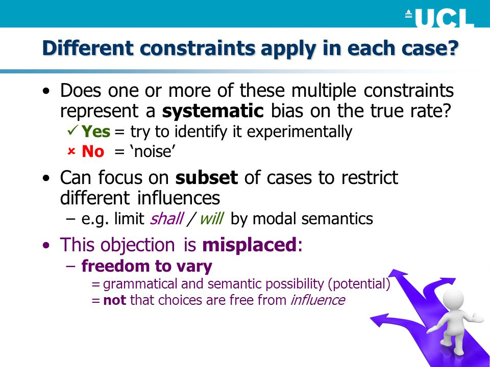 Different constraints apply in each case? Does one or more of these multiple constraints represent a systematic bias on the true rate? Yes= try to ide