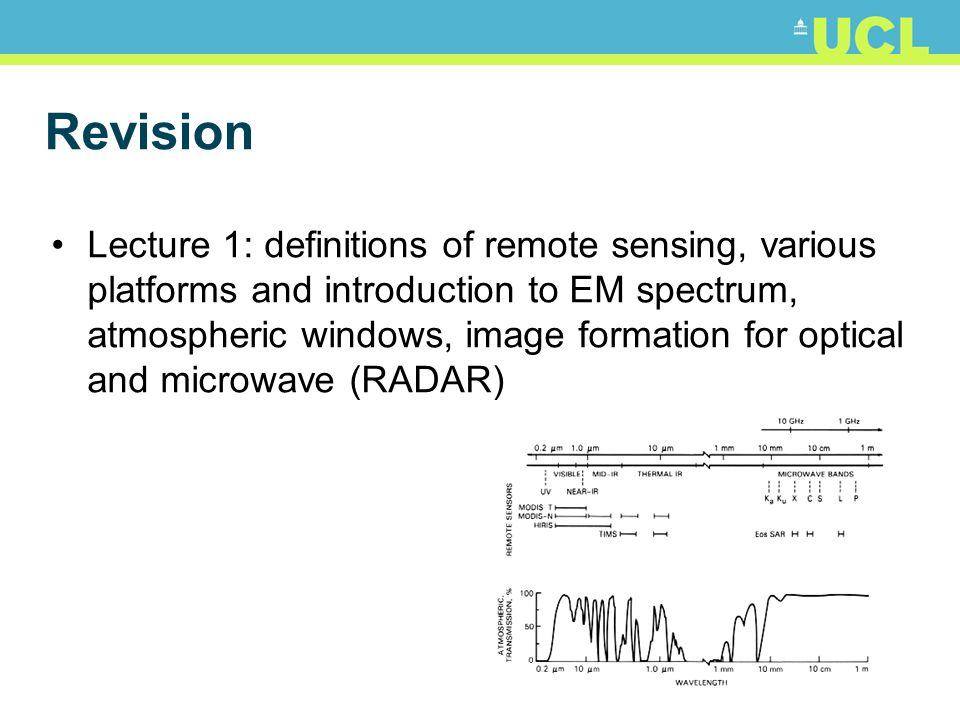 Revision Lecture 1: definitions of remote sensing, various platforms and introduction to EM spectrum, atmospheric windows, image formation for optical