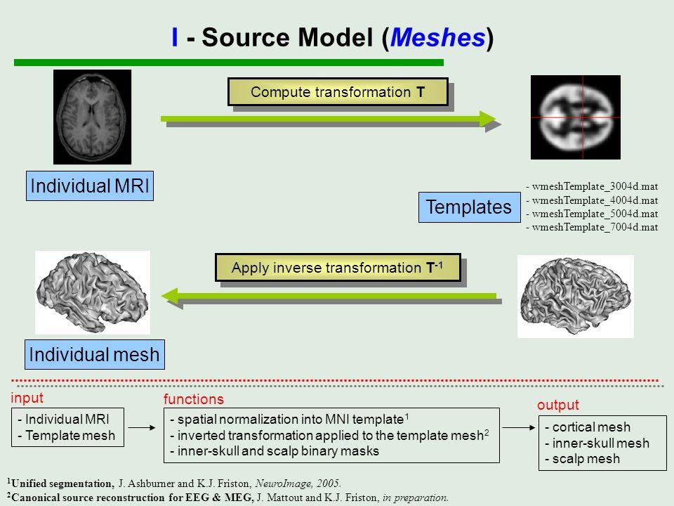 Compute transformation T Apply inverse transformation T -1 - Individual MRI - Template mesh input - spatial normalization into MNI template 1 - invert