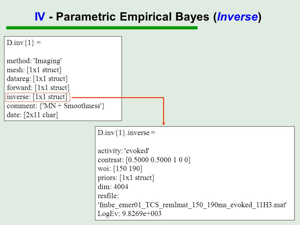 D.inv{1} = method: 'Imaging' mesh: [1x1 struct] datareg: [1x1 struct] forward: [1x1 struct] inverse: [1x1 struct] comment: {'MN + Smoothness'} date: [