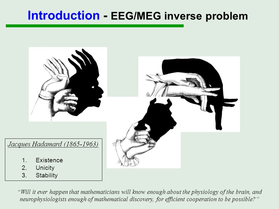 Introduction - EEG/MEG inverse problem Data Y Current density J Inverse problem (ill-posed) Forward problem (well-posed) Y = K(J) + E Forward problem (well-posed) Y = K(J) + E incorporate multiple constraints/prior information estimate the optimal contribution of those priors evaluate the relevance of the priors/model Bayesian framework Parametric empirical Bayes Bayesian model comparison
