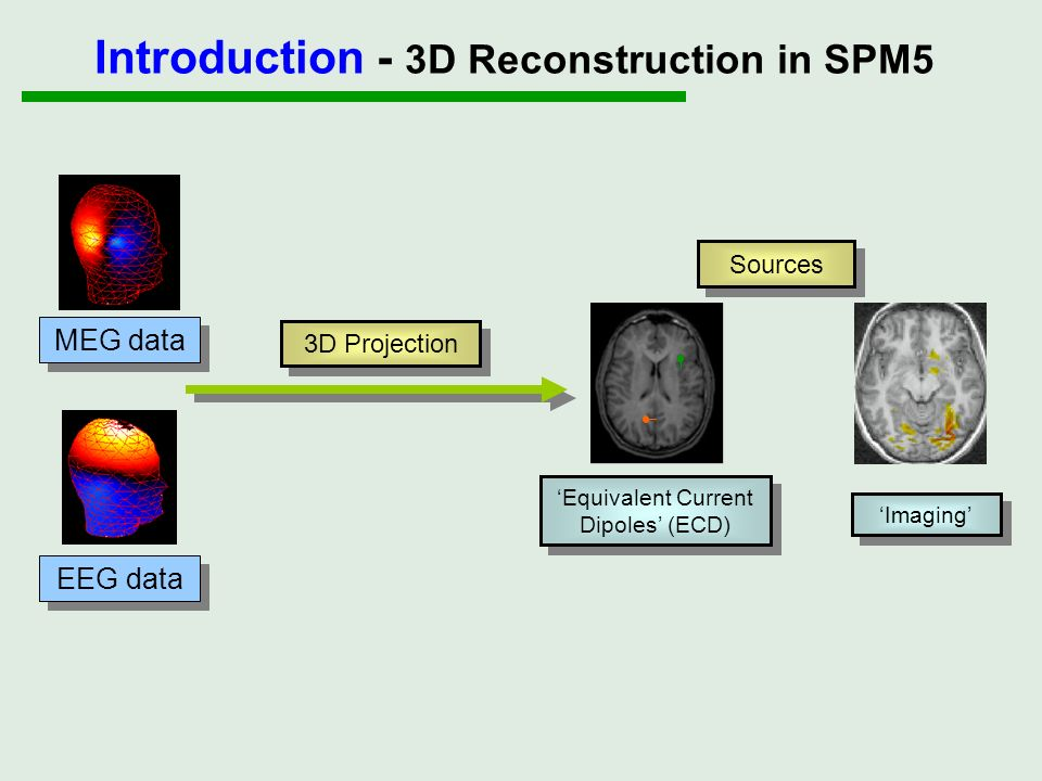 (1) Source model (3) Forward model (4) Inverse method (2) Registration ECD Imaging Data Anatomy Introduction - 3D Reconstruction in SPM5