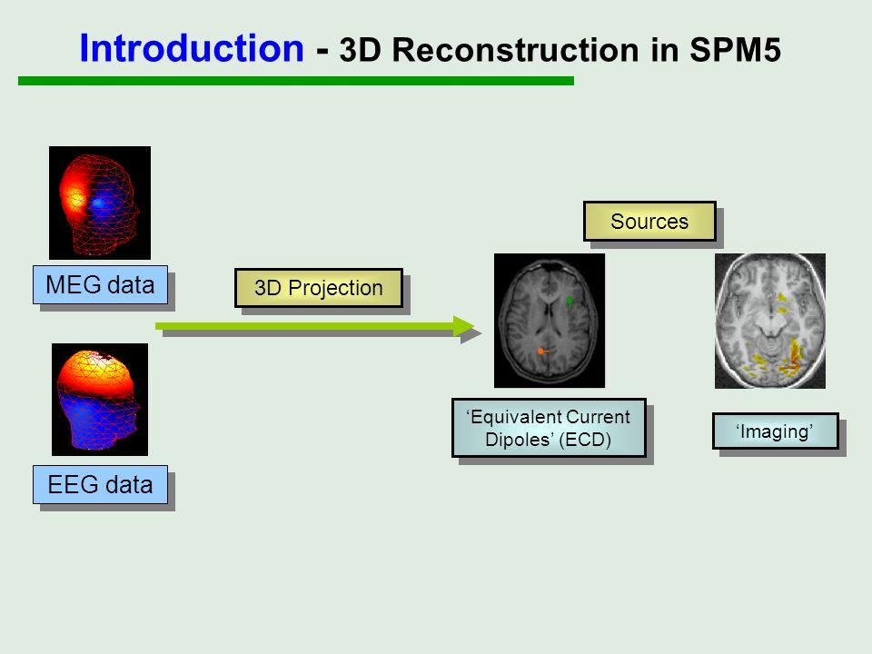 Sources Imaging Equivalent Current Dipoles (ECD) 3D Projection Introduction - 3D Reconstruction in SPM5 MEG data EEG data