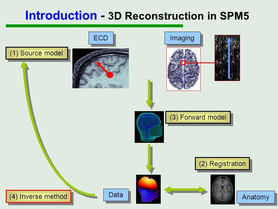 (1) Source model (3) Forward model (4) Inverse method (2) Registration ECD Imaging Data Anatomy Introduction - 3D Reconstruction in SPM5