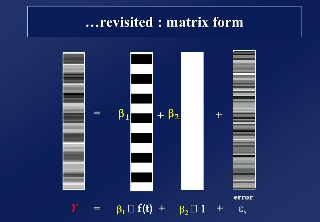 …revisited : matrix form = + + s =++ Y error 1 2 f(t)