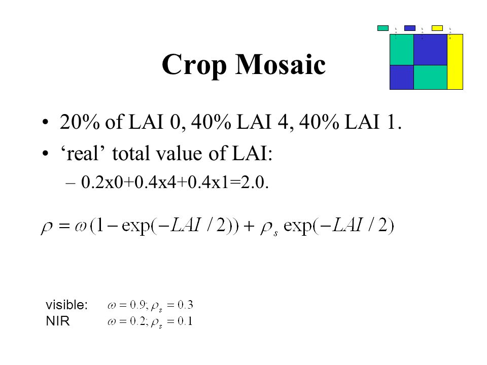 Crop Mosaic 20% of LAI 0, 40% LAI 4, 40% LAI 1. real total value of LAI: –0.2x0+0.4x4+0.4x1=2.0. LAI1LAI1 LAI4LAI4 LAI0LAI0 visible: NIR