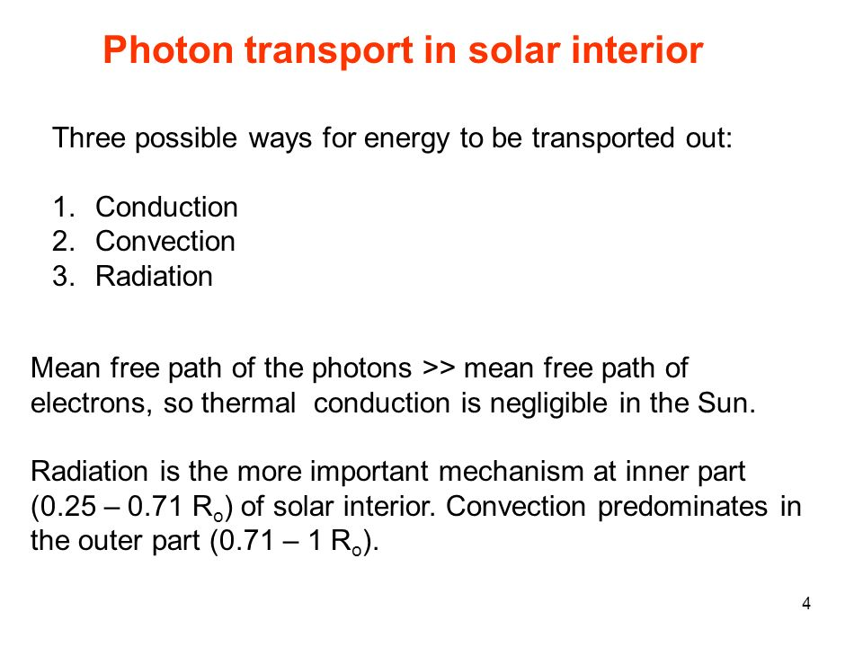 Three possible ways for energy to be transported out: 1.Conduction 2.Convection 3.Radiation Mean free path of the photons >> mean free path of electrons, so thermal conduction is negligible in the Sun.
