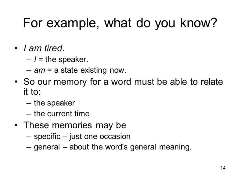 14 For example, what do you know. I am tired. –I = the speaker.