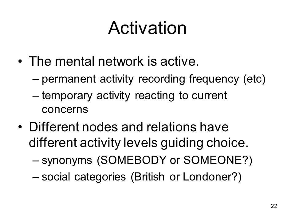 22 Activation The mental network is active.