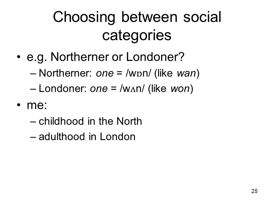25 Choosing between social categories e.g. Northerner or Londoner.