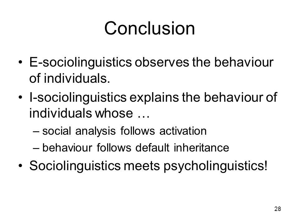 28 Conclusion E-sociolinguistics observes the behaviour of individuals.