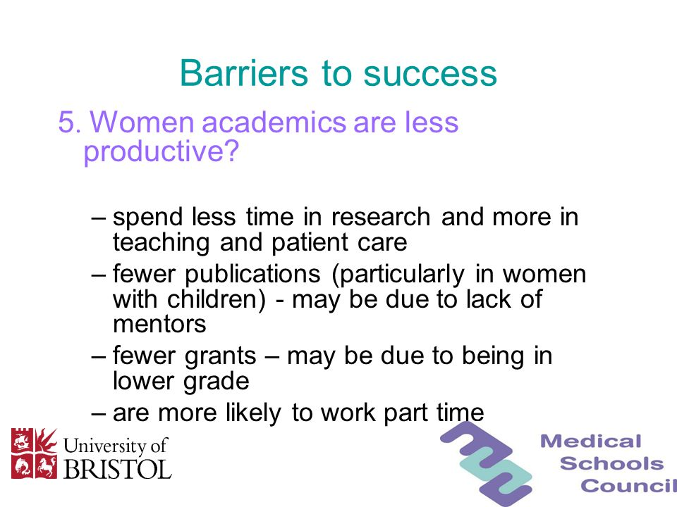 Barriers to success 5. Women academics are less productive? –spend less time in research and more in teaching and patient care –fewer publications (pa