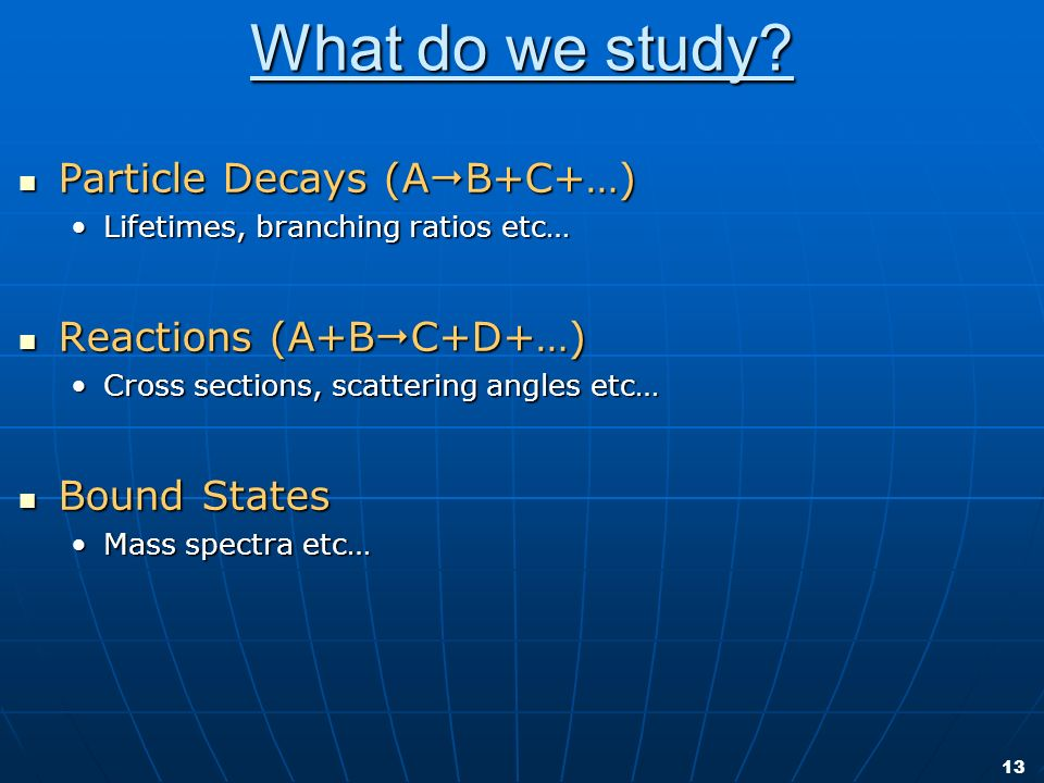 13 What do we study? Particle Decays (A B+C+…) Particle Decays (A B+C+…) Lifetimes, branching ratios etc…Lifetimes, branching ratios etc… Reactions (A