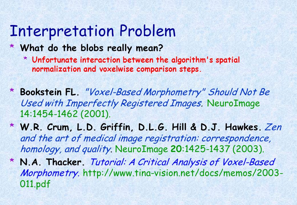 Interpretation Problem *What do the blobs really mean.